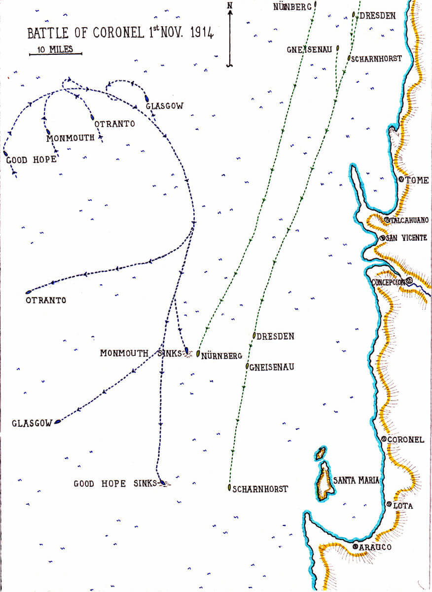 Map of the Battle of Coronel 1st November 1914 by John Fawkes