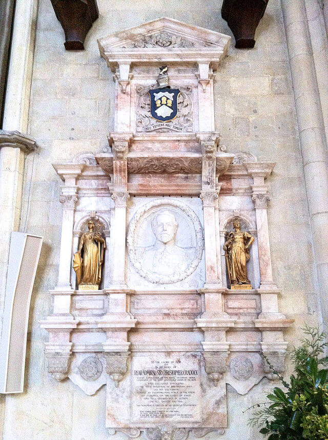 The memorial to Rear Admiral Sir Christopher Cradock in York Minster