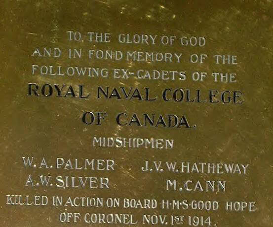 Memorial in the Canadian Royal Naval College to the four Canadian midshipmen on HMS Good Hope