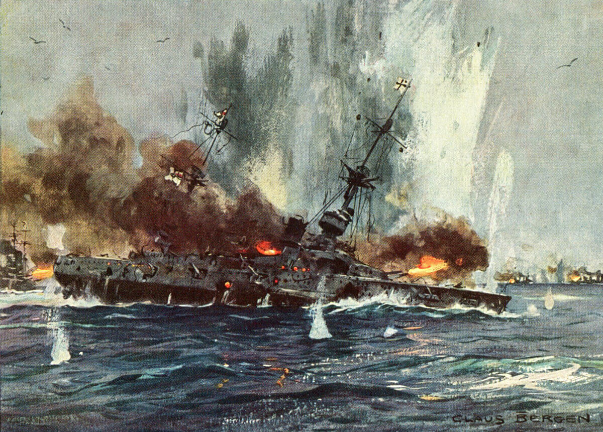 SMS Scharnhorst sinking at the Battle of the Falkland Islands 8th December 1914: picture by Claus Bergen