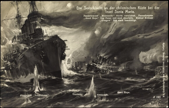 A German postcard celebrating the Battle of Coronel, called the Battle of the Island of Santa Maria. If you wish to buy a copy of this picture click here