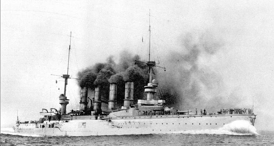 Admiral Graf von Spee's flagship the protected cruiser SMS Scharnhorst at sea. To buy this picture click here