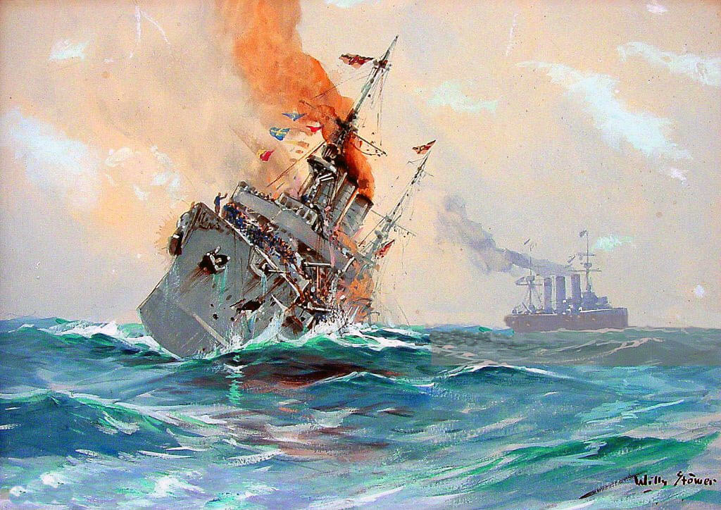 SMS Nürnberg sinking at the end of the Battle of the Falkland Islands on 8th December 1914 in the First World War: picture by Willy Stoewer