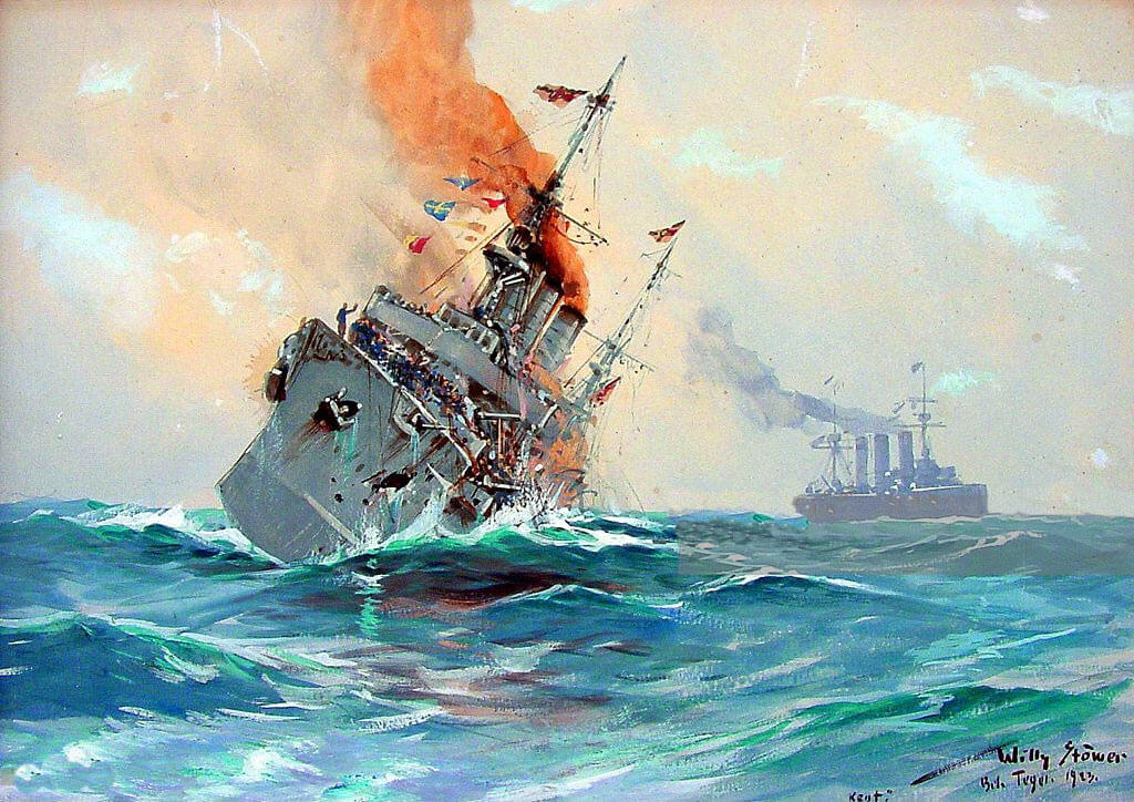 SMS Nürnberg sinking at the end of the Battle of the Falkland Islands on 8th December 1914: by Willy Stoewer