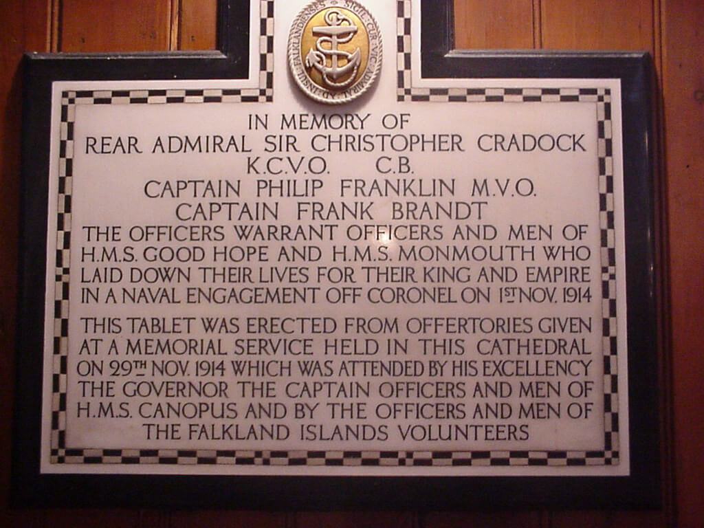 Memorial in Stanley Cathedral to the crews of HMS Good Hope and Monmouth