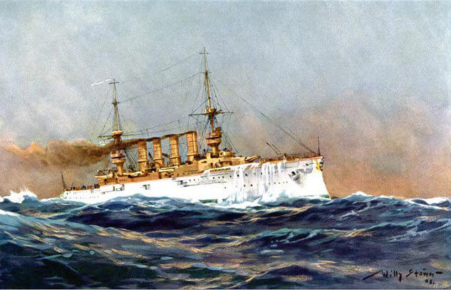 German Armoured Cruiser SMS Scharnhorst Flagship of Admiral Graf von Spee at the Battles of Coronel and Falklands in 1914: picture by Willyl Stoewer in 1905