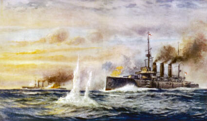 HMS Kent in action against SMS Nürnberg during the Battle of the Falkland Islands on 8th December 1914 in the First World War: picture by Charles de Lacy