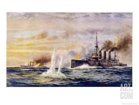 HMS Kent in action against SMS Nürnberg during the Battle of the Falkland Islands on 8th December 1914. To buy this picture click here