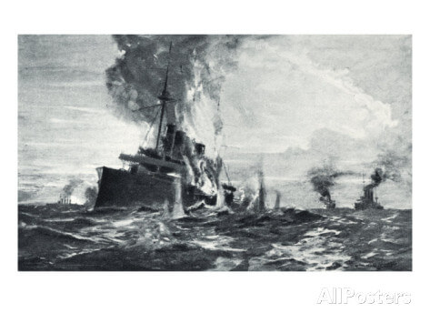 HMS Monmouth engaged at the Battle of Coronel. To buy this picture click here