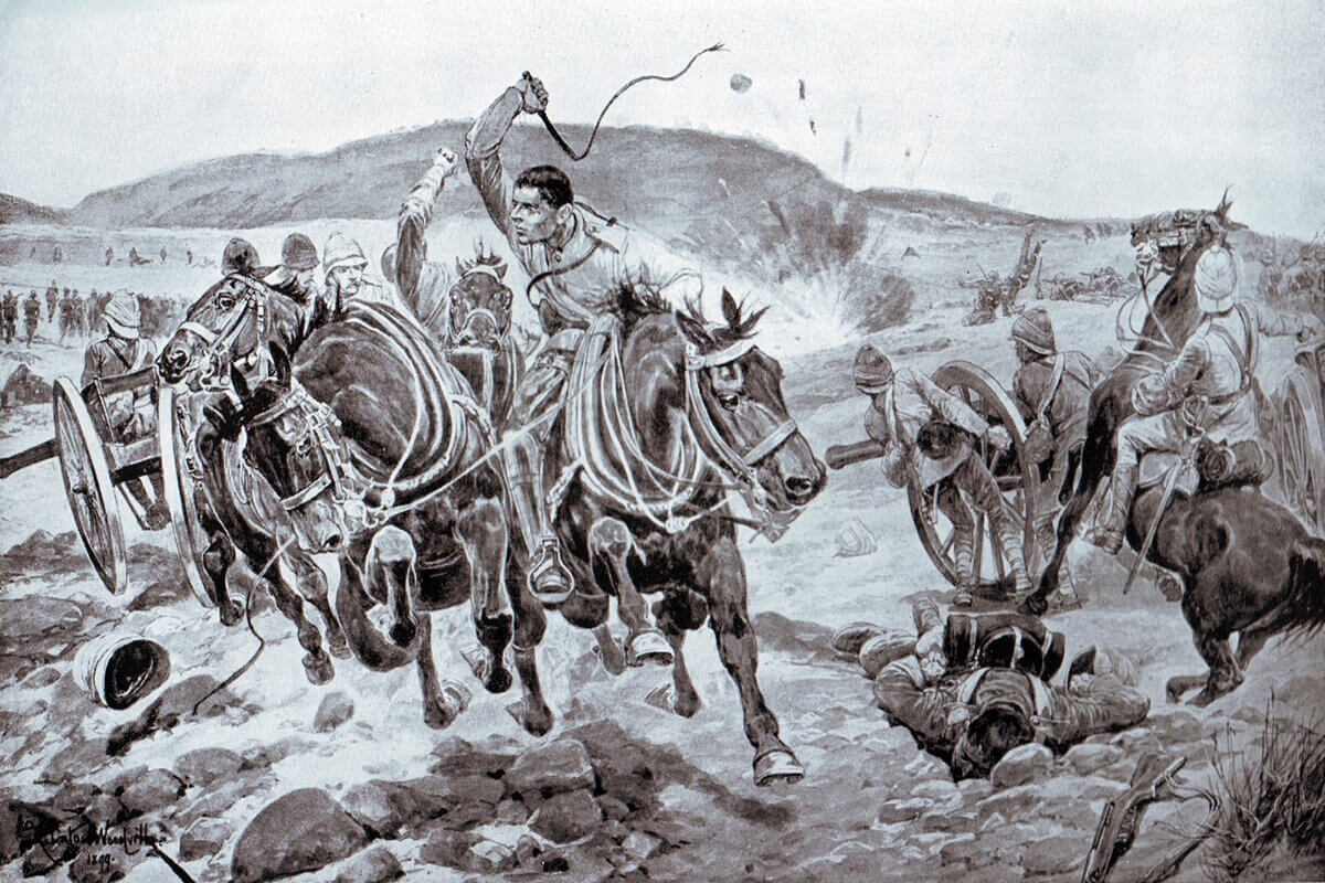 Bringing off the guns at the Battle of Ladysmith on 30th October 1889 by John Charlton