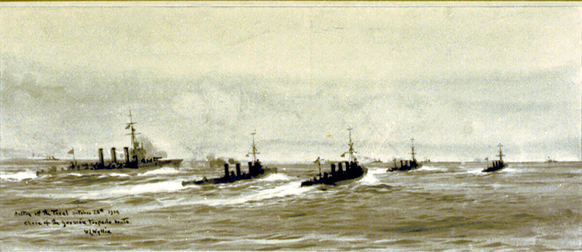 British light cruiser HMS Undaunted and the four destroyers Lance, Lennox, Legion and Loyal sight the four German torpedo boats at the beginning of the Texel action on 17th October 1914: picture by Lionel Wyllie.