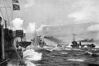 HMS Undaunted and the four British destroyers sight the four German torpedo boats in the Texel action on 17th October 1914 in the First World War