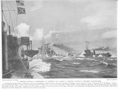 HMS Undaunted and the four British destroyers sight the four German torpedo boats in the Texel action on 17th October 1914: illustration in a contemporary magazine