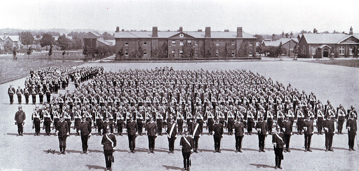1st Manchester Regiment on parade in Britain before leaving for South Africa. 1st Manchesters formed part of Colonel Ian Hamilton's brigade at the Battle of Ladysmith on 30th October 1889