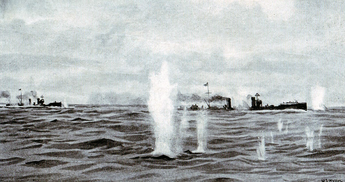 German torpedo boats under fire in the Texel action on 17th October 1914 in the First World War: picture by Lionel Wyllie