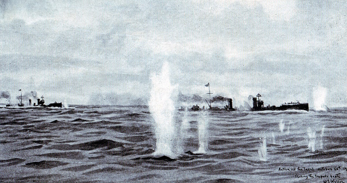German torpedo boats under fire in the Texel action on 17th October 1914: picture by Lionel Wyllie