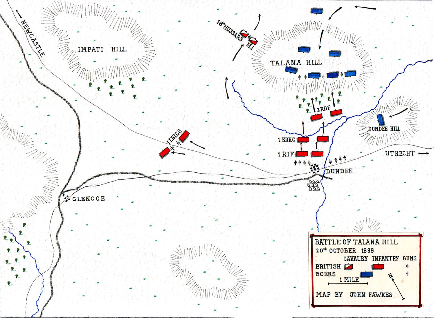 Map of the Battle of Talana Hill or Dundee on 20th October 1899 during the Boer War by John Fawkes