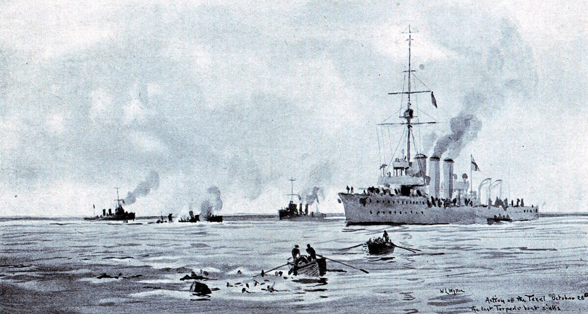 The British ships rescuing survivors among the German crews from the four torpedo boats sunk in the Texel action on 17th October 1914: picture by Lionel Wyllie