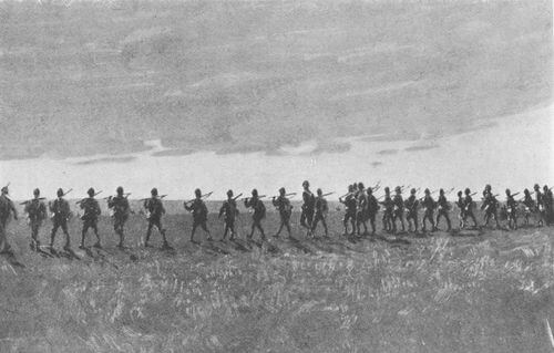 Soldiers of the 1st Devonshire Regiment advancing in open order at the Battle of Elandslaagte on 21st October 1899