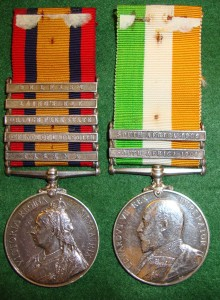 Queen's South African War medal and King's South African War medal awarded to Trooper Taylor of the 18th Hussars (Queen's medal has the clasp 'Talana')