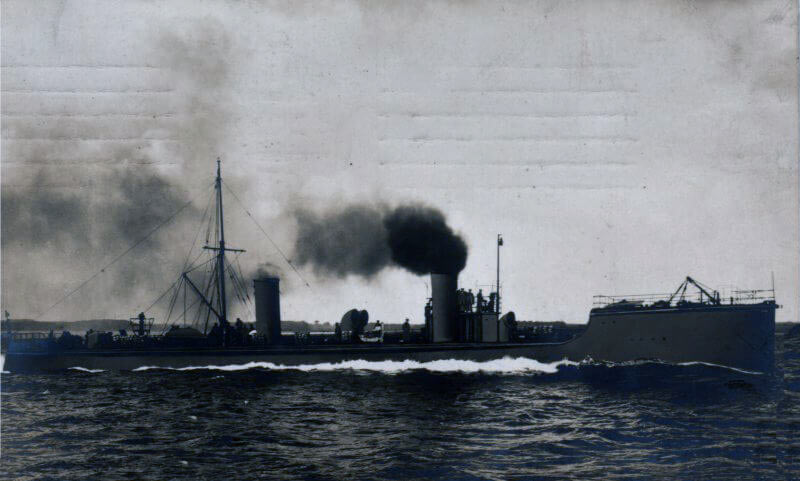 German torpedo boat similar to the German ships in the Texel action on 17th October 1914 in the First World War