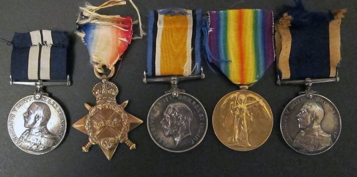 Medals of Chief Stoker Johnson of HMS Lennox, including the Distinguished Service Medal awarded for his conduct in the Texel action on 17th October 1914 in the First World War (left)