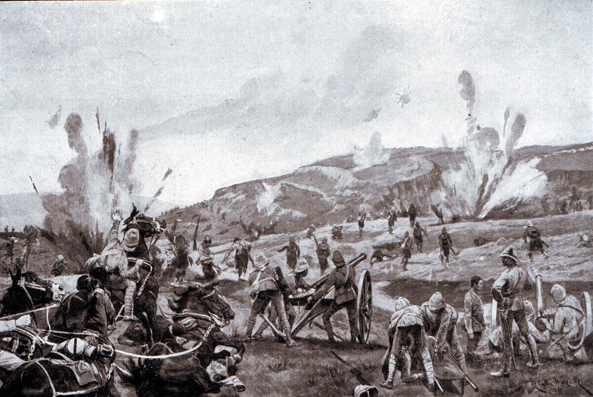 2nd Gordons attacking the hill at the Battle of Elandslaagte on 21st October 1899