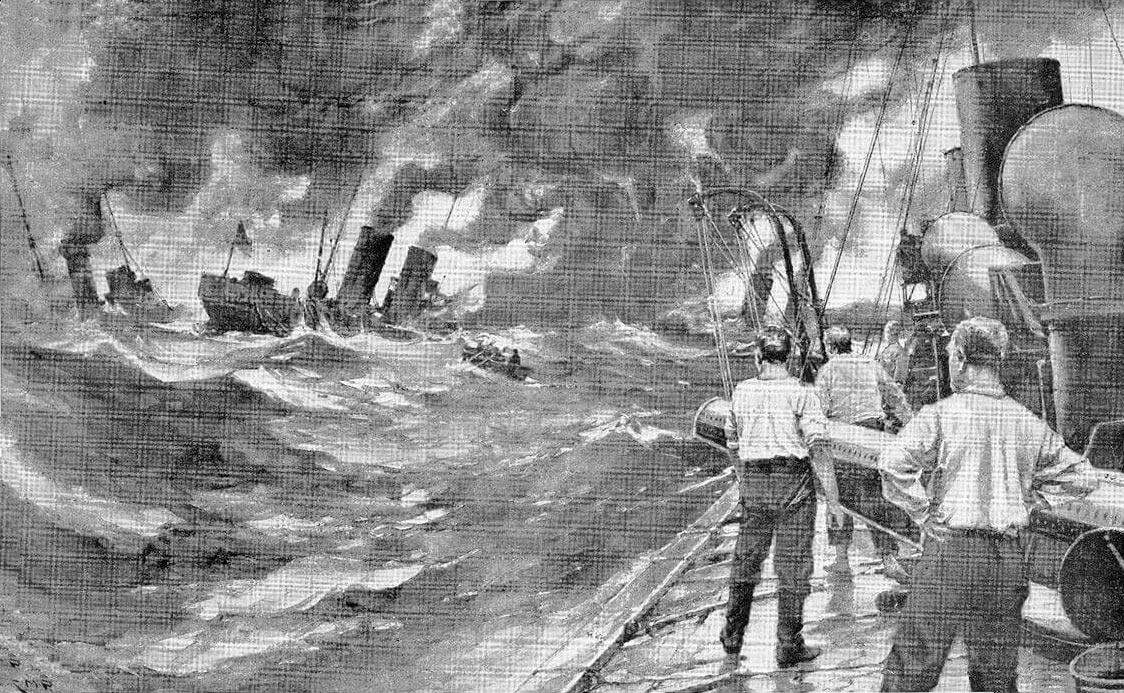 Illustration of the sinking of the German torpedo boats, under the caption 'Sunk the lot': Texel action on 17th October 1914 in the First World War