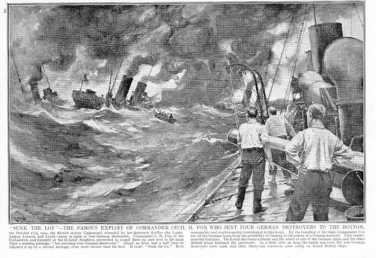 Illustration of the sinking of the German torpedo boats during the Texel action under the caption 'Sunk the lot', in a contemporary British magazine