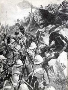 2nd Gordons storming the hill at the Battle of Elandslaagte on 21st October 1899