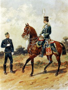 19th Prince of Wales' Hussars in 1885 by Orlando Norie: the 19th Hussars was one of the British cavalry regiments at the Battle of Ladysmith or Lombard's Nek on 30th October 1889.