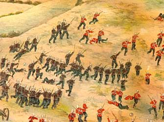 1st King's Royal Rifle Corps storming Talana Hill during the battle on 20th October 1899