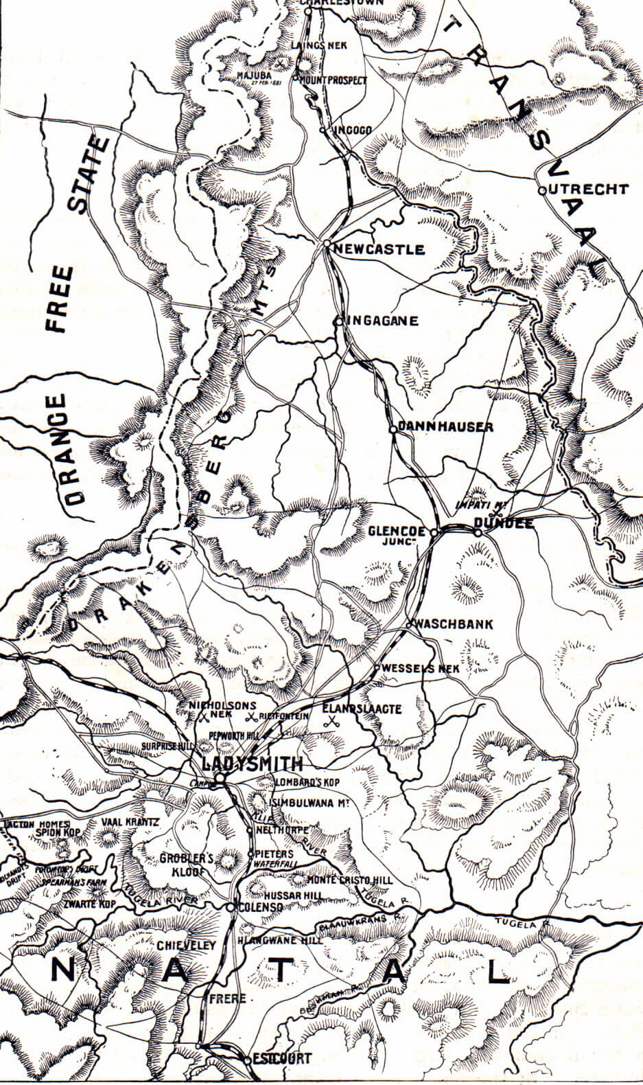 Map of Natal in 1889 on the outbreak of the South African or Boer War
