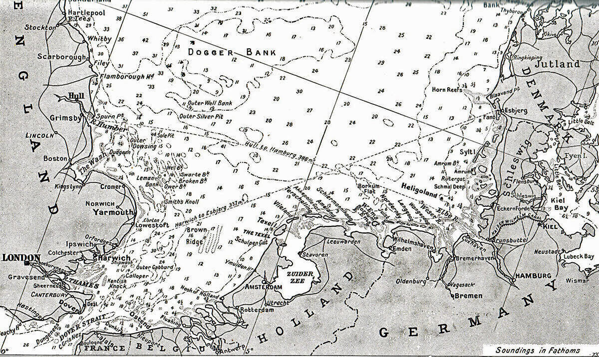 Map of the North Sea Coast of Holland and Germany showing the Dutch island of Texel where the action took place on 17th October 1914 in the First World War