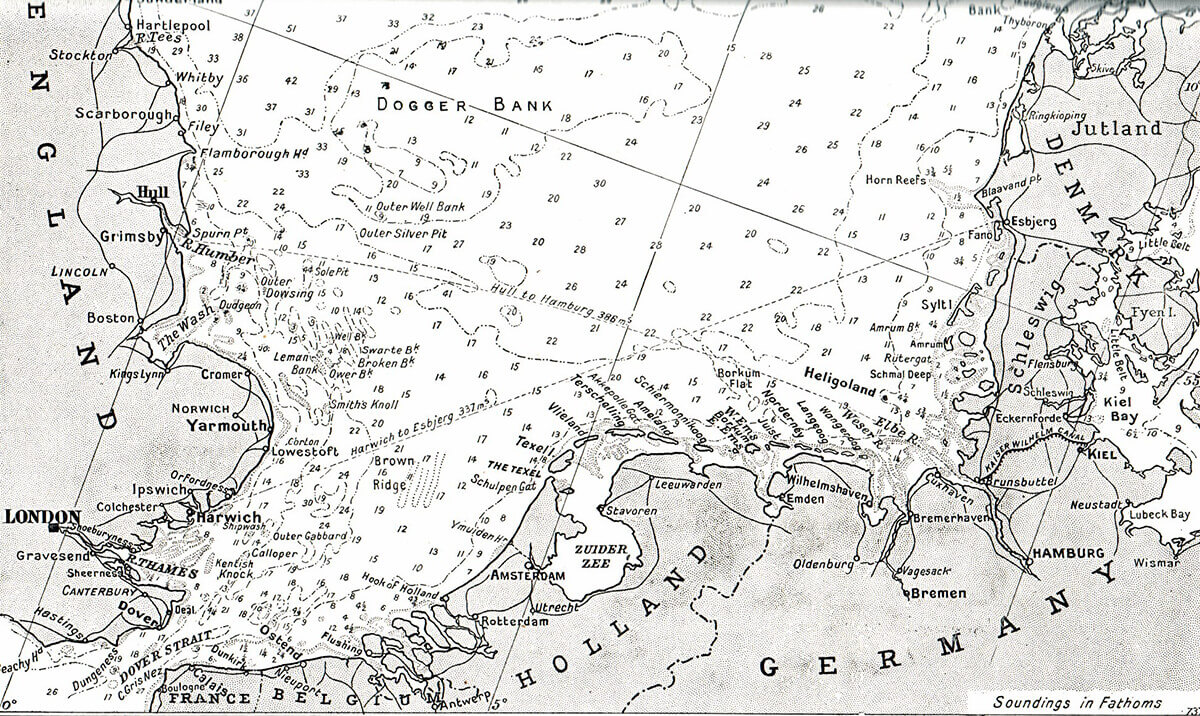 Map of the North Sea Coast of Holland and Germany showing the Dutch island of Texel where the action took place on 17th October 1914