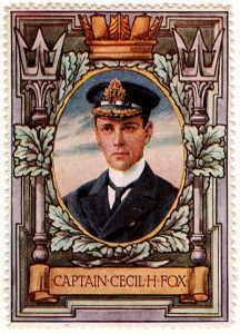 Captain Fox of HMS Undaunted, British commander in the Texel action on 17th October 1914 one of a series of heroic pictures published early in the Great Warpictures published early in the Great War