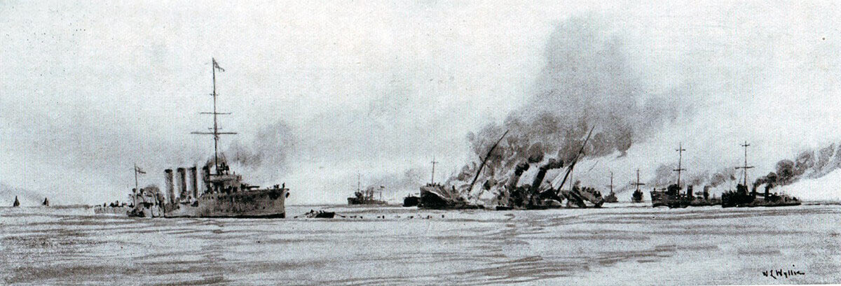 Sinking of the German minelayer Königin Luise on 5th August 1914 in the First World War. Shown are HMS Amphion and HMS Lance. Picture by Lionel Wyllie