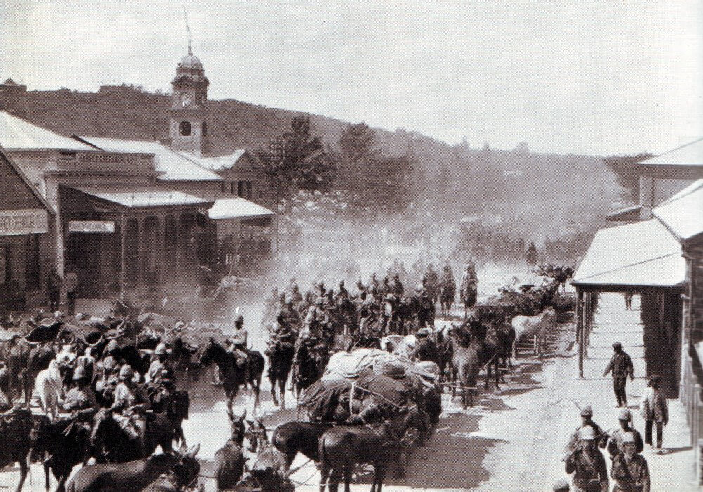 British troops arriving back in Ladysmith after the Battle of Ladysmith or Lombard's Kop on 30th October 1889