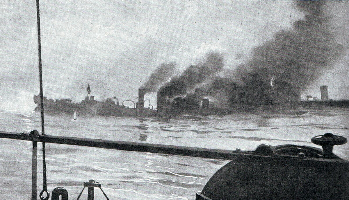 Photograph showing either the sinking of HMS Amphion on 6th August 1914 or the German torpedo boats at Texel on 17th October 1914, in the First World War