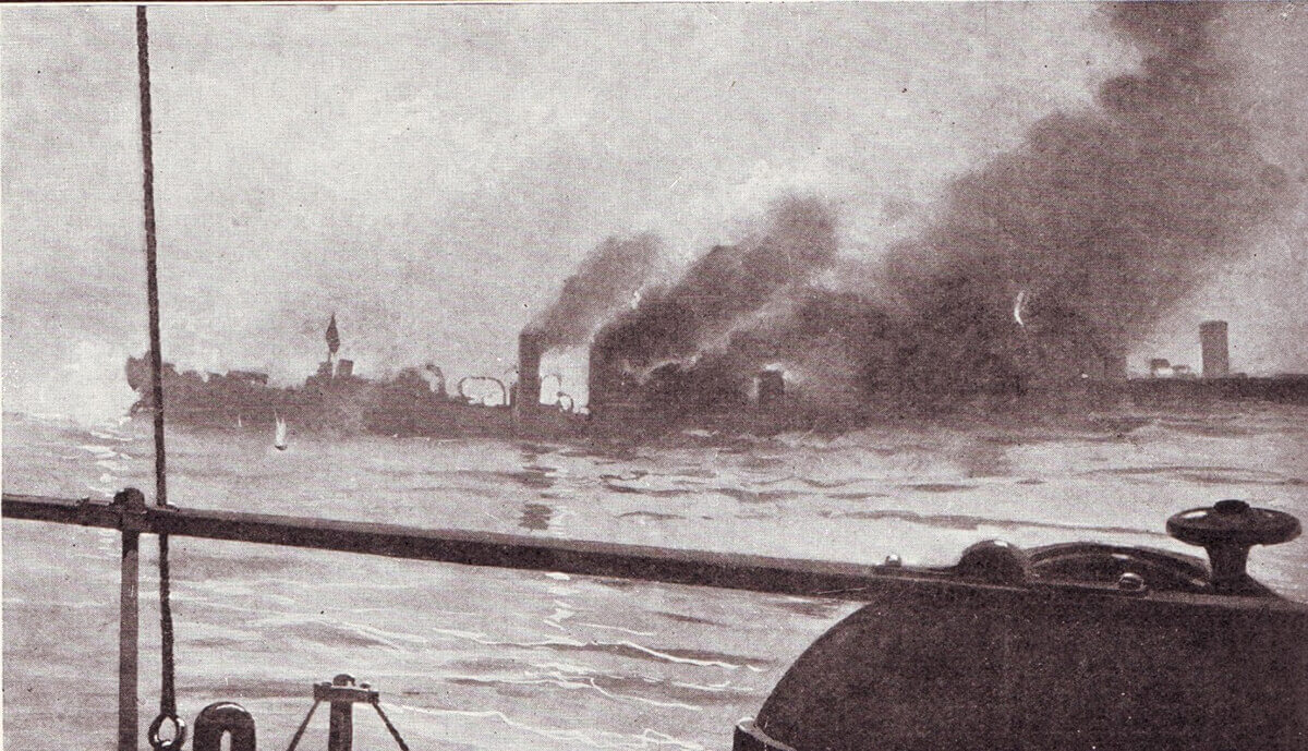 Photograph showing either the sinking of HMS Amphion on 6th August 1914 or the German torpedo boats at Texel on 17th October 1914