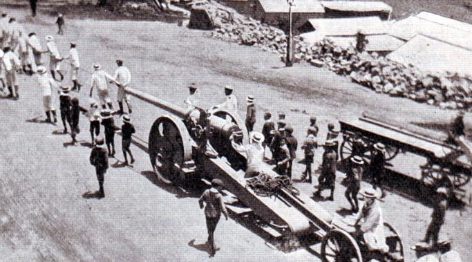 Royal Naval long 12 pounder gun on a field carriage