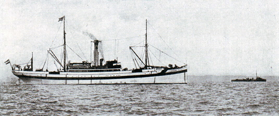 German ship Ophelia, that the Germans claimed to be a hospital ship, detained by the Royal Navy following the Texel action on 17th October 1914 in the First World War