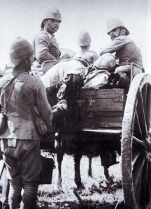 British casualties being removed from the field after the Battle of Ladysmith or Lombard's Kop on 30th October 1889