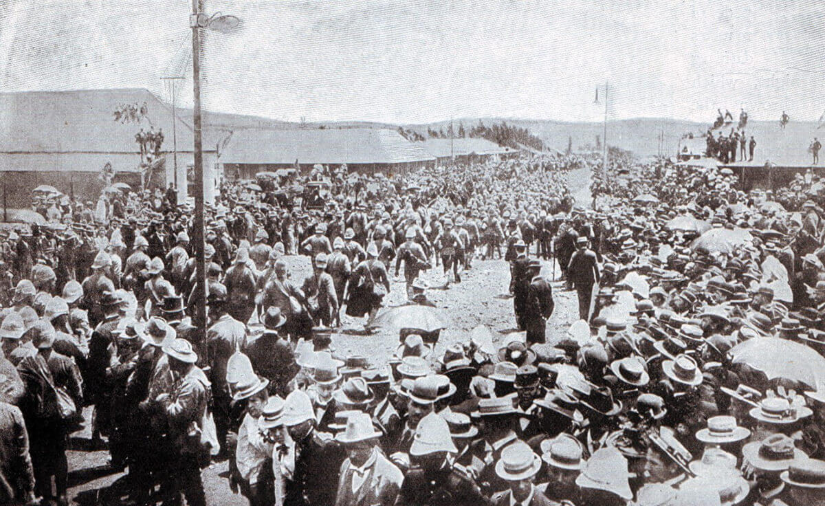 British prisoners from Nicholson's Nek on 30th October 1889 arriving at Pretoria Racecourse