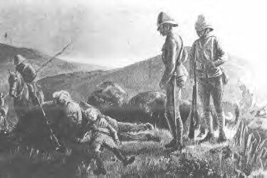 Dead Boer cradling his 13 year old son's body after the Battle of Elandslaagte on 21st October 1899