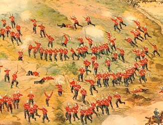 2nd Royal Dublin Fusiliers storming Talana Hill during the battle on 20th October 1899