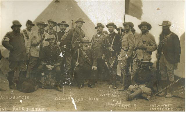 Commandant Kock and his staff. Kock commanded the Boer force at the Battle of Elandslaagte on 21st October 1899