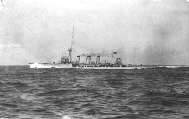 British light cruiser HMS Undaunted, the command ship at the Texel action on 17th October 1914