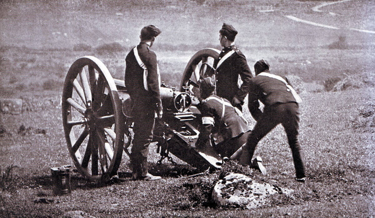Royal Field Artillery gun crew about to fire a 15 pounder RBL field gun on exercise in Britain