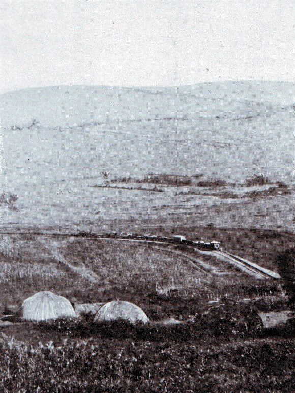 Photograph showing the railway to Elandslaagte and the hills where the battle took place on 21st October 1899